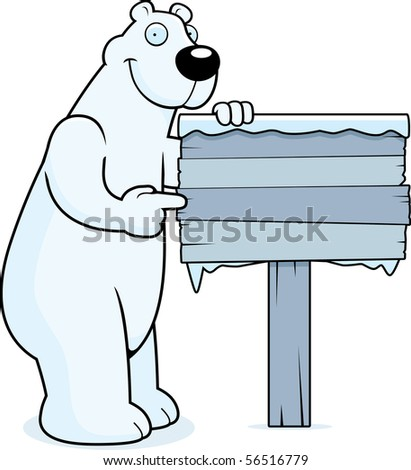 A happy cartoon polar bear with a wooden sign.