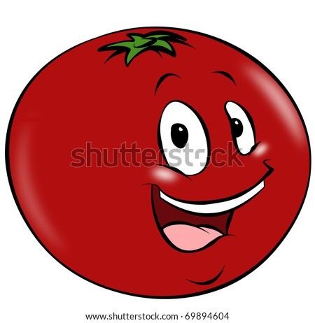 A happy cartoon tomato. A healthy addition to any diet.