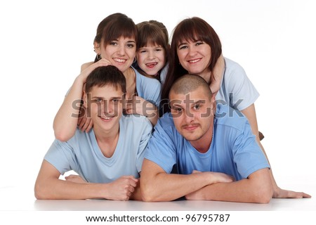 A happy family of five on a isolate background