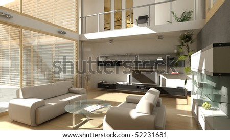 A High Quality Resolution Render Of Modern Style Living Room