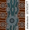 A illustration based on aboriginal style of dot painting depicting river - stock photo
