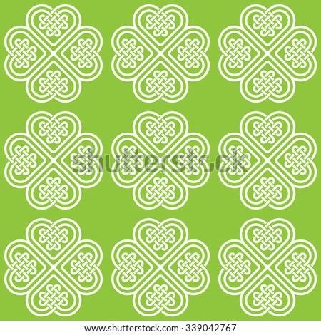 A light monochromatic seamless pattern made of Celtic style knots, illustration