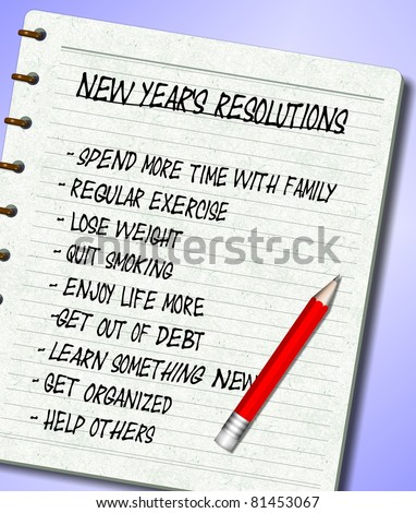 A list of New Year's resolutions written on a note pad / New Years resolutions list