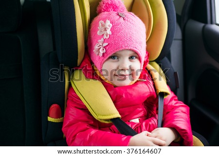 Funny Face Girl In Car Seat