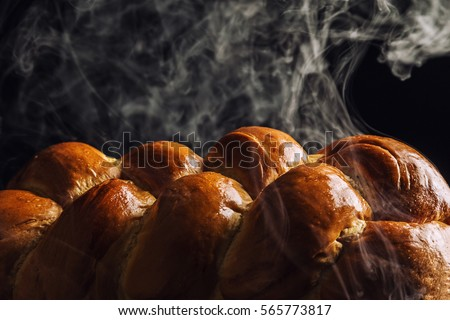 Freshly Baked Loaf Challah Bread Hot Stock Photo 488038204
