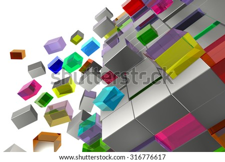 a lot of bright and grey cubes