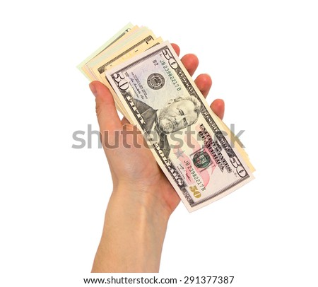 A lot of dollars on a white background isolated