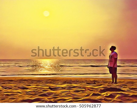 A man on the beach looking at the sun. Ocean landscape with horizon. Sand beach of India, Goa. Empty beach with foot step marks. Lonely person staring at the sun. Yellow abstract beach view image