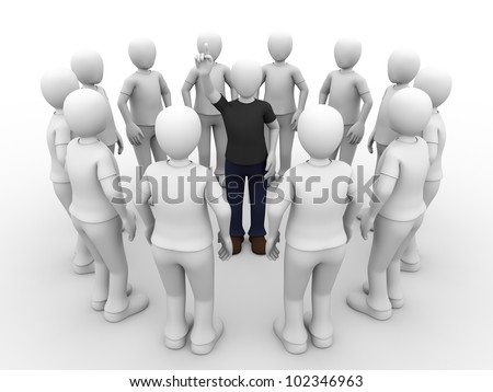 A man surrounded by other men is raising his hand to ask something.