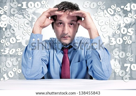A man under stress due to finances. Selective focus on the male head