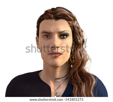 A man who has transitioned to female - before and after - 3D render.