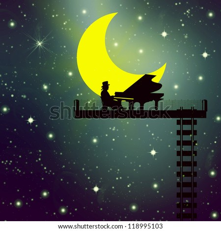 a man who plays the piano on the background of the moon