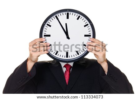a manager in the head before stress with clock. working in the office.