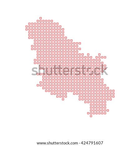 A Map of the country of Serbia