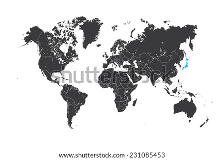 High quality america centric world map vectores en stock 590736806 a map of the world with a selected country of japan gumiabroncs Image collections