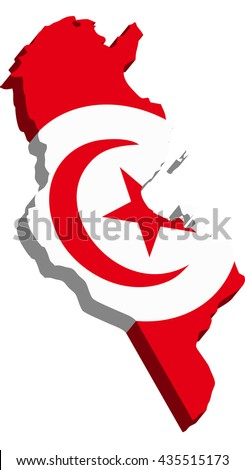 A map of Tunisia 3D on white background