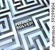 A maze containing the words - Problem Solved - stock photo