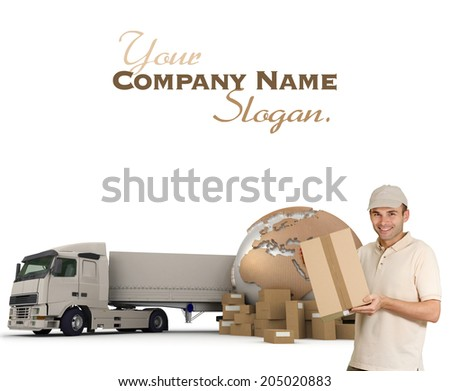 A messenger with a world map, packages and a truck as background