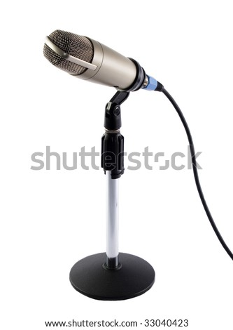 A microphone on mic-stand with white background
