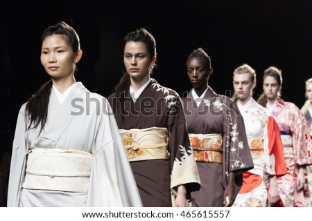 A model walks the runway for Japanese Designer Hiromi Asai during New York Fashion Week Fall Winter 2016 at Skylight Studios at Moynihan Station in New York on February 16th, 2016