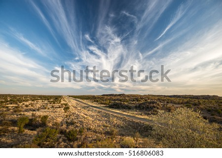A modern asphalt road across Namibian endless plains with dry plants, small green trees and magical cloudy sky