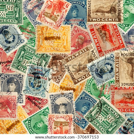 A montage of several vintage 19th century Republic of Hawaii and U.S. Hawaiian  territory provisional postage stamps.