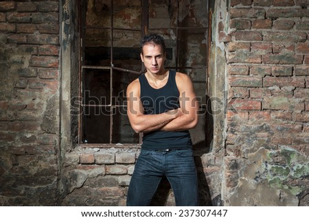 A Muscular man outdoor portrait