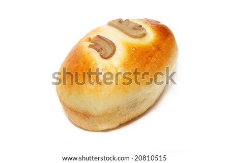 A mushroom bun isolated on white background.