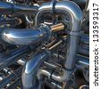 A network of chrome industrial pipes. - stock photo