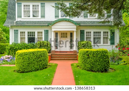 Landscape Design Flowers Stones Nicely Trimmed Stock Photo