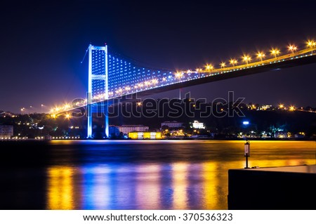 A night view from the side of The Bosphorus Bridge
