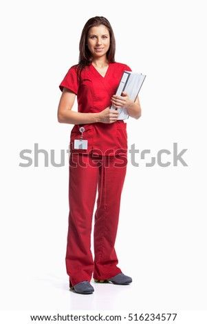 A nurse holding binder and wearing red scrubs