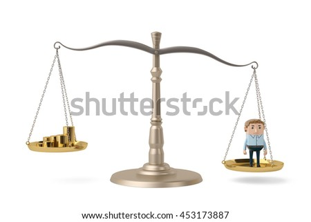 A office man and gold coins on the Libra,3D illustration.