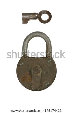 a old closed lock with key