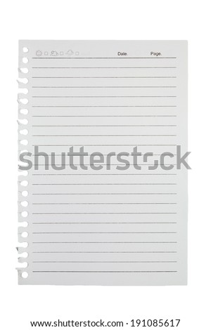 A page ripped off from the notebook on white background
