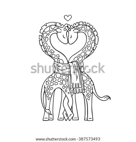 Aninimal Book: One Line Cute Giraffe Couple Love Stock Illustration ...
