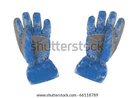 A pair of snowy gloves