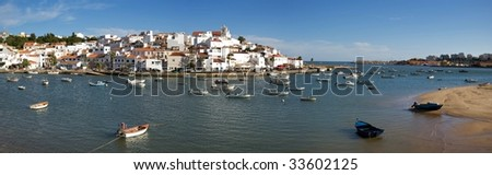 A panoramic view of Ferragudo, a small village in the Algarve.