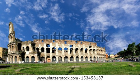 A panoramic view of the famous Colosseo, one of most known Italian landmark in Rome