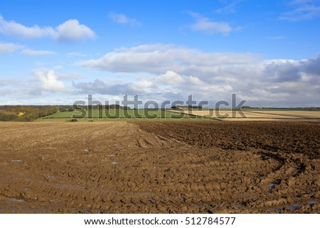 a partially plowed field near a wooded valley in a yorkshire wolds landscape with hills and hedgerows under a blue cloudy sky in autumn