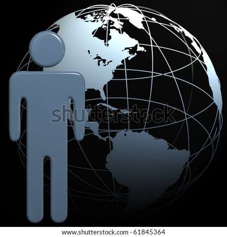 A people symbol in front of a 3D globe Earth on black