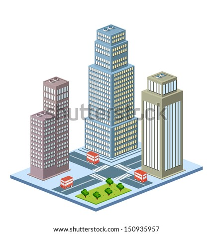 A perspective view of a city block with buildings and vehicles