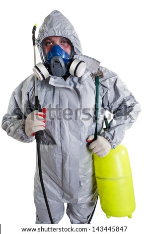 A Pest Control Worker Wearing A Mask Hood Protective