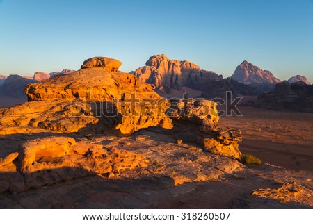 A phantastic sunrise in the Wadi Rum desert in Jordan