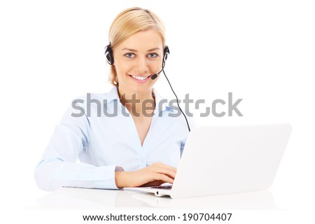 A picture of a happy teleworker working on a laptop over white background