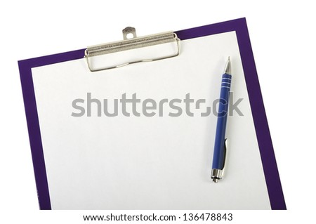 A piece of blank paper and pen on clipboard closeup, isolated on white