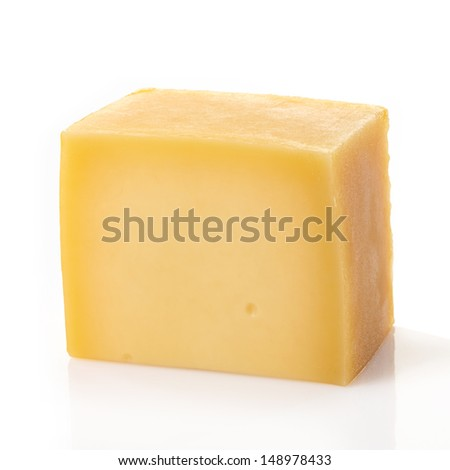 A piece of cheese on white background