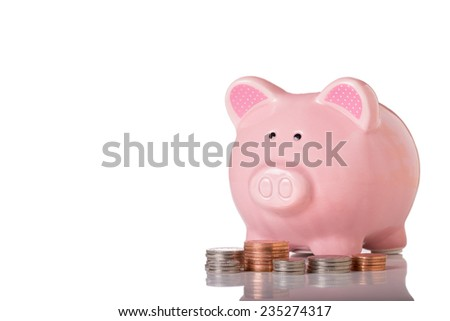 A Piggy Bank and Coin Stacks Isolated on a White Background.Copy Space.