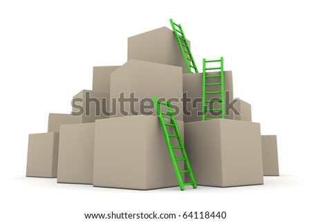 a pile of cardboard boxes - three green glossy ladders are used to climb to the top
