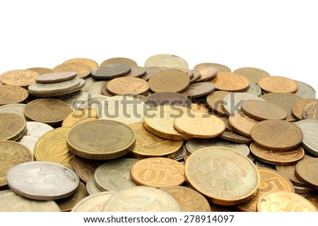 A pile of coins Russian rubles of different denomination